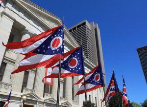 Ohio state flags waving