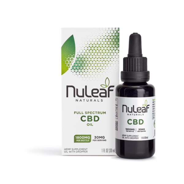 NuLeaf full spectrum CBD oil 1800mg box and bottle